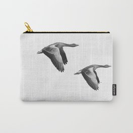A Pair of Wild Geese Flying Together Synchronized Carry-All Pouch