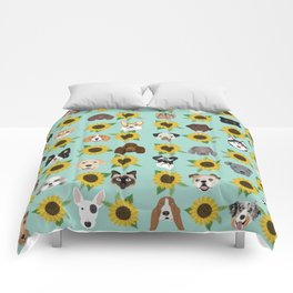 Dogs and cats pet friendly sunflowers animal lover gifts dog breeds cat person Comforters
