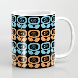 Mid Century Modern Retro Abstract Flowers Turquoise and Orange on Black Coffee Mug