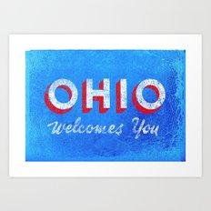 Vintage Ohio Welcome Sign Art Print